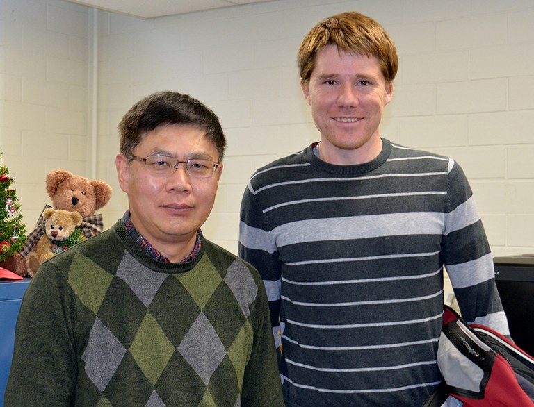 Dr. Xinshun Qu, left, poses with guest speaker Dr. Christopher Clarke. Dr. Clarke's presentation concluded the PPEM Fall 2018 Seminar Series. IMAGE: NANCY WENNER, PENN STATE
