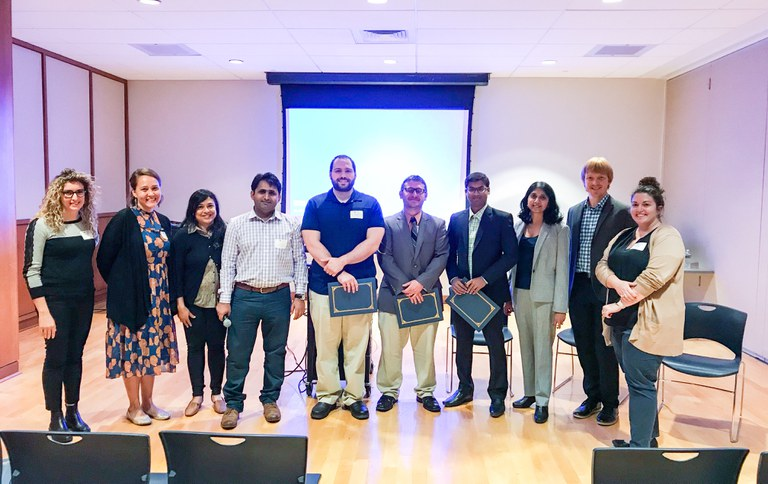 Postdoctoral scholars and committee members from the Office of Postdoctoral Affairs and Penn State Postdoc Society pause for a photo during the Eleventh Annual Postdoc Research Exhibition on September 28, 2018.  IMAGE: TRACEY ACCORDINO, PENN STATE